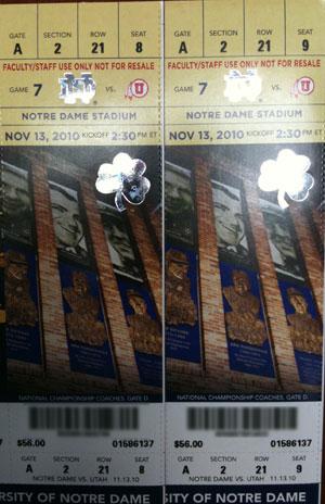 Utah Notre Dame Tickets